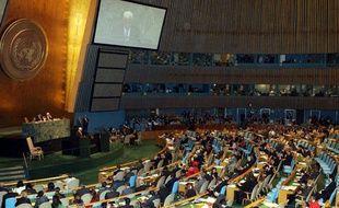 Le Président de l'Autorité Palestinienne, Mahmoud Abbas, à la tribune lors de la 67e session de l'Assemblée Générale des Nations Unies, à New York, le 27 septembre 2012 .