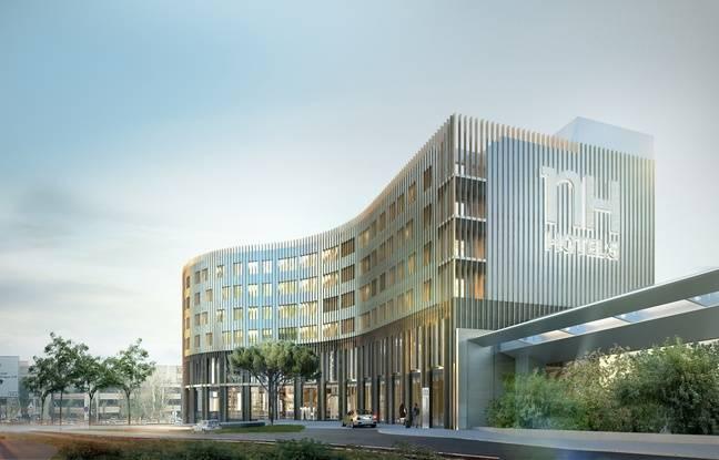 Vue du futur Hotel 4* attenant au Hall A de l'aéroport de Toulouse Blagnac dont l'ouverture est prévue pour 2018.