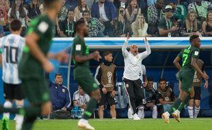 Jorge Sampaoli lors du match Argentine-Nigeria à la Coupe du monde en Russie, le 26 juin 2018.
