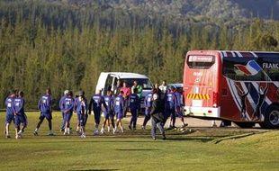 Les joueurs de l'équipe de France, lors de la grève de l'entraînement à Knysna, le 20 juin 2010.