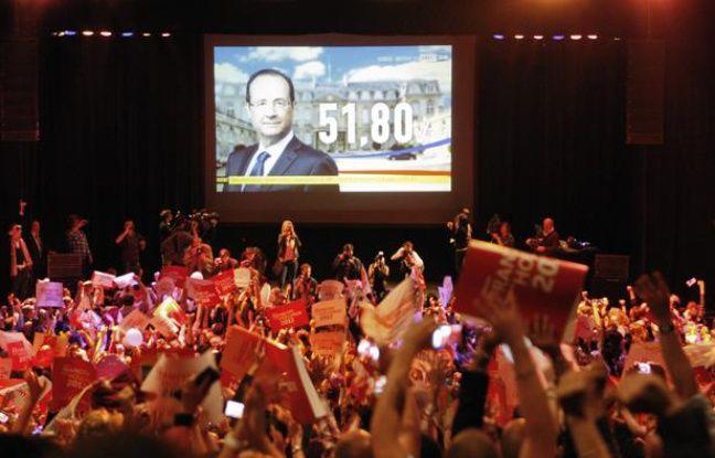 Annonce des résultats au QG du vainqueur, François Hollande.