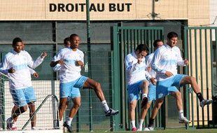 Les joueurs de l'OM, pendant un entraînement au centre Louis Dreyfus, à Marseille, le 18 octobre 2010.