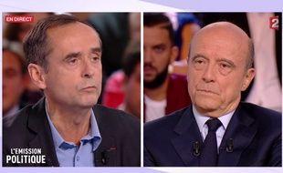 Capture écran de «L'Emission politique» sur France 2 avec Alain Juppé et Robert Ménard, le 6 octobre 2016
