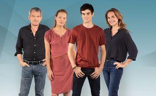 Bertrand Farge, Gabrielle Lazure, Gary Guenaire et MelanieMaudran incarnent les membres de la famille Estrela dans Un si grand soleil.