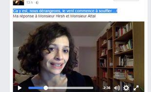 Capture d'écran de la vidéo sur facebook de l'interne Sabrina Ali Benali, qui dénonce le manque de moyens dans les hôpitaux publics.