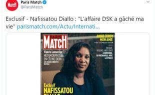 Nafissatou Diallo est en une de «Paris Match» le 10 septembre 2020