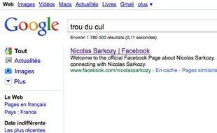 Capture d'écran du nouveau Google bombing dont Nicolas Sarkozy a été victime en septembre 2010.