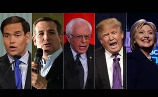 Photomontage des candidats Marco Rubio, Ted Cruz, Bernie Sanders, Donald Trump et Hillary Clinton.