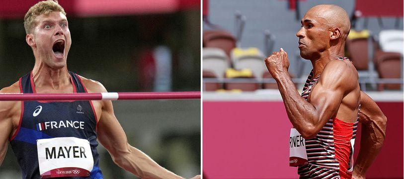 Les stars du décathlon Kevin Mayer face au Canadien Damian Warner aux JO de Tokyo, le 5 août 2021.