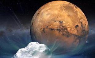 Une peinture artistique représente la comète Siding Spring et la planète Mars