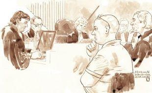 Croquis d'audience fait le 24 octobre 2014 de Mark van Nierop devant un tribunal à Amsterdam