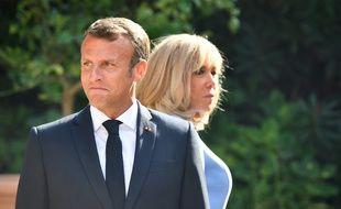 Emmanuel et Brigitte Macron au fort de Brégançon (Var), le 19 août 2019.