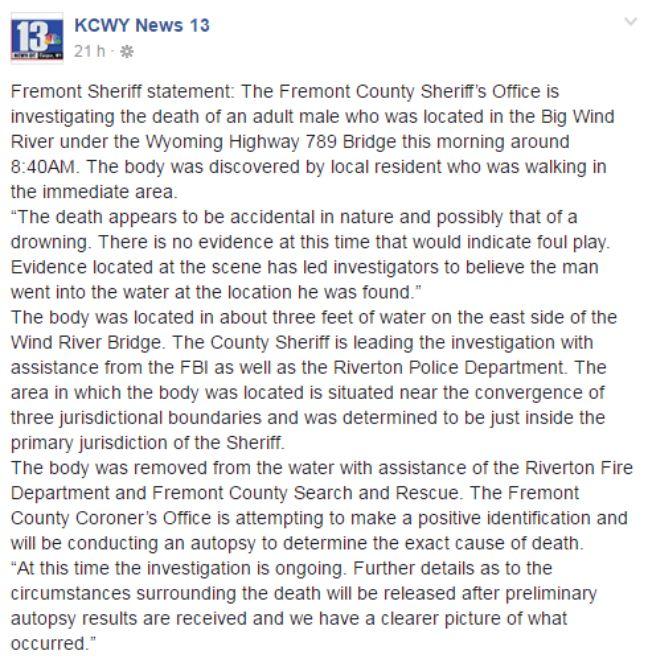 Communiqué de la police de Frémont, Etats-Unis, relayé par la chaîne de télévision KCWY13 sur sa page Facebook