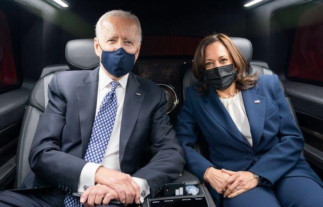 Joe Biden et Kamala Harris dans la limousine présidentielle, le 19 mars 2021.