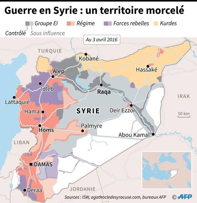 Carte de la situation en Syrie, au 3 avril 2016.