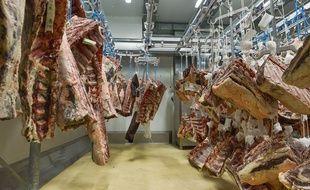 Des carcasses de bœuf à Rungis en mars 2020 (illustration)