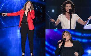 Nayah (à gauche), Maria Cuche (à droite, en haut) et Virginie Vetrano alias Lisa Angell, dans The Voice.