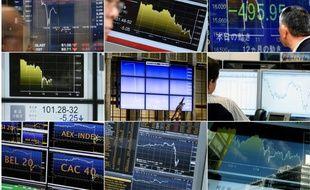 Une combinaison de plusieurs écrans de Bourses le 24 juin 2016