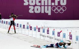 Epreuve de biathlon à Sotchi le 8 février 2014.