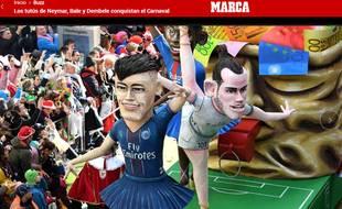 Les mannequins géants de Neymar, Bale et Dembélé au carnaval de Madrid.