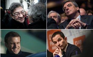 """Jean-Luc Mélenchon, François Fillon, Emmanuel Macron et Benoît Hamon, la bande des """"on"""" de l'élection"""