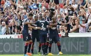 Les Girondins célèbrent le but de la victoire contre Rennes, le dimanche 28 septembre 2014.