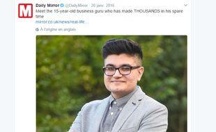 Mohammed Ali, un Britannique de 16 ans, a refusé une offre de rachat de plus de 5 millions de livres pour un site internet qu'il a mis au point.