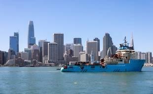 Le navire d'Ocean Cleanup, à San Francisco.