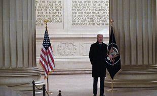 Le président américain Joe Biden au Lincoln memorial, le 20 janvier 2021