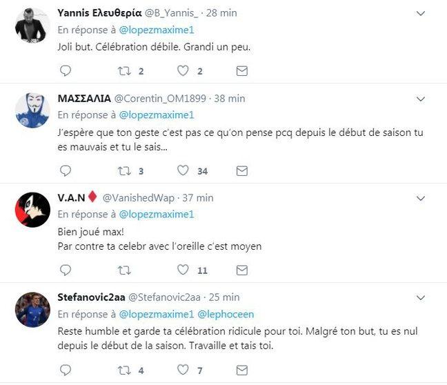 Les quatre premières réponses au tweet de Maxime Lopez.