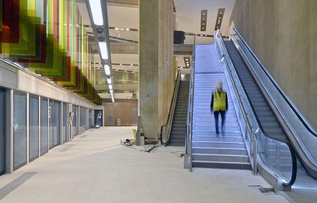 Vue de la future station Sainte-Anne sur la ligne B du métro à Rennes.