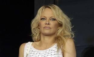 Pamela Anderson au stade Vélodrome de Marseille le 7 octobre 2018.
