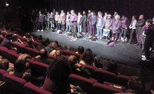 Les intermittents, ce mardi soir, au théâtre HTH de Montpellier.