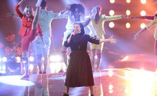 Sœur Cristina sur le plateau de «The Voice» Italie, en 2014.