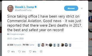 Le tweet posté mardi 2 janvier par Donald Trump a suscité les moqueries des utilisateurs.