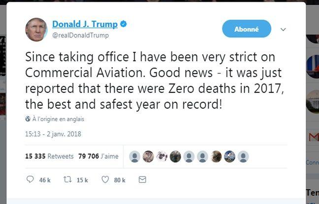 Etats-Unis: Donald Trump ridiculisé sur Twitter pour s'être attribué l'amélioration de la sécurité aérienne