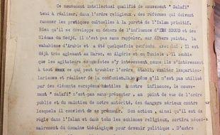 La première page de la lettre du ministère des Colonies, datée de 1928, et partagée par le chercheur Andrew Lebovich.