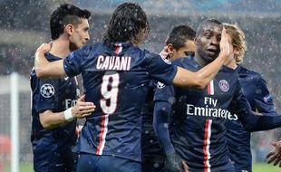 Les Parisiens célèbrent un but contre l'Ajax Amsterdam le 25 novembre 2014.