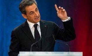 L'ancien chef de l'Etat Nicolas Sarkozy lors de son premier meeting depuis son retour en politique à Lambersart le 25 septembre 2014