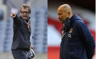 Fabien Galthié et Eddie Jones, deux entraîneurs contrariés avant leurs retrouvailles à Twickenham.
