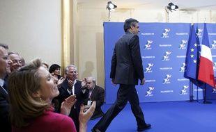 Vainqueur de la primaire à droite, François Fillon s'apprête à prononcer son discours, le 27 novembre 2016 à Paris.