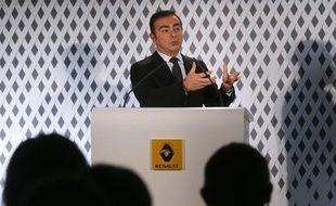 Carlos Ghosn, le PDG de Renault-Nissan, le 14 février 2013 lors de la présentation des résultats annuels de Renault.
