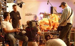 Sur le tournage d'un film pornographique à Berlin, en février 2004