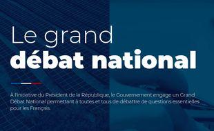 Capture d'écran du site officiel du Grand débat national.