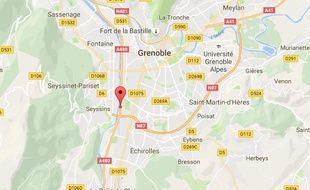 Localisation de l'accident qui a coûté la vie à deux adolescents à Grenoble, dans la nuit du 29 au 30 octobre 2016