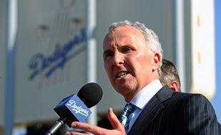 Frank McCourt, le 14 avril 2011 à Los Angeles lors d'une conférence de presse au Dodger Stadium.