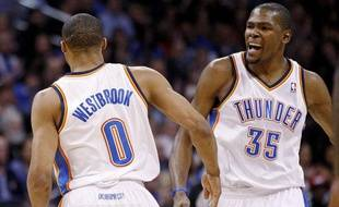 Les deux stars du Thunder, Russell Westbrook et Kevin Durant, le 21 mars 2012