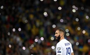 Karim Benzema, ici au moment de son entrée en jeu, samedi soir en Ukraine (1-1).
