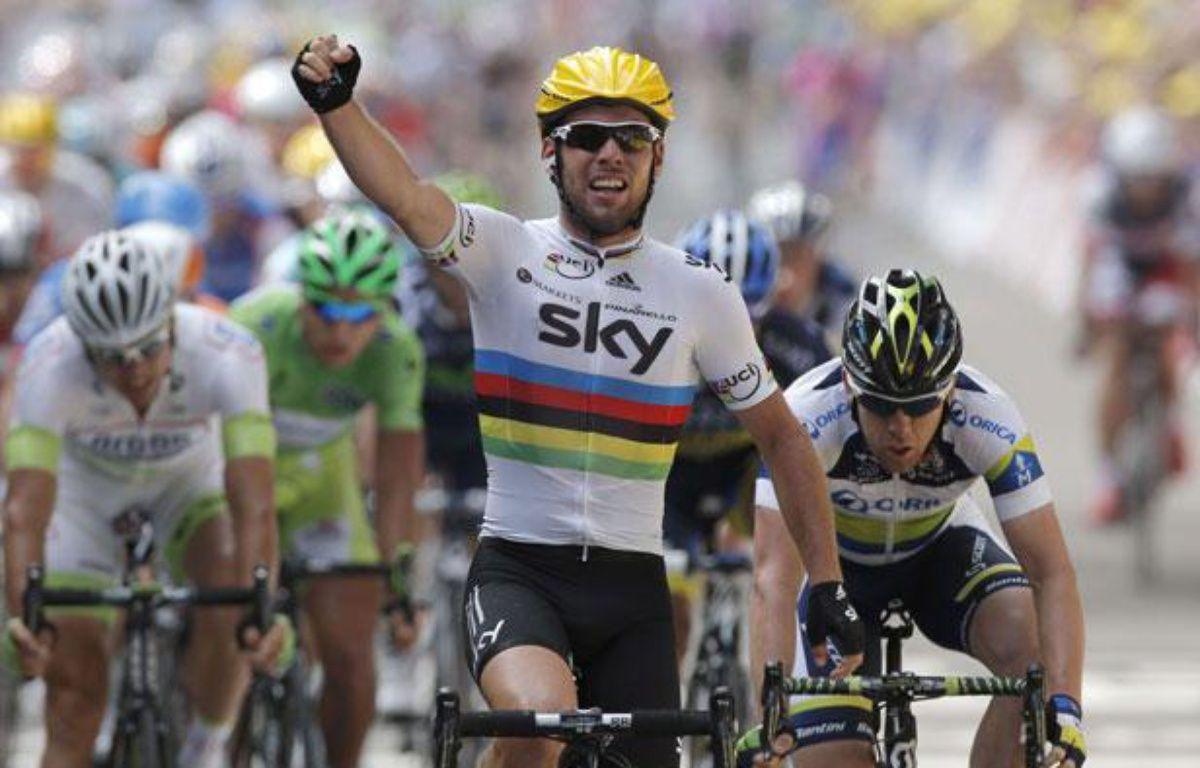 Mark Cavendish, vainqueur de la deuxième étape du Tour de France, à Tournai, le 2 juillet 2012. – Laurent Rebours/AP/SIPA