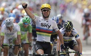 Mark Cavendish, vainqueur de la deuxième étape du Tour de France, à Tournai, le 2 juillet 2012.